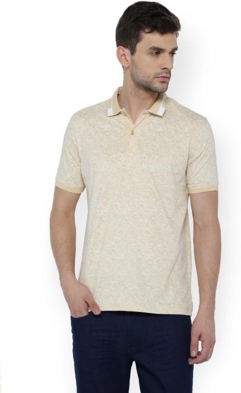 Van Heusen Printed Men Polo Neck Beige T-Shirt