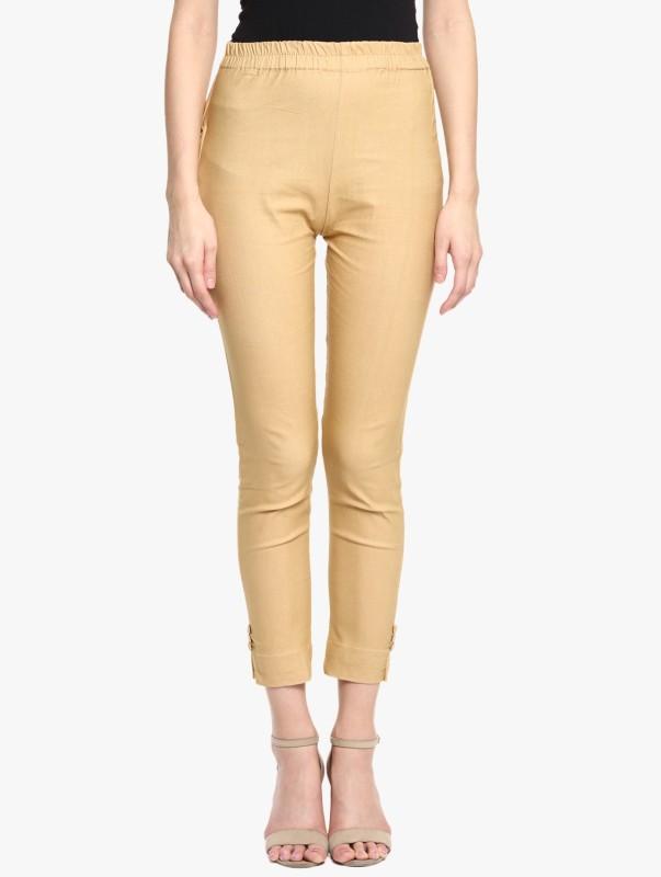 Broadstar Regular Fit Women Gold Trousers