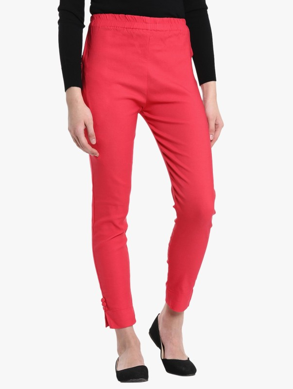 Broadstar Regular Fit Women Red Trousers