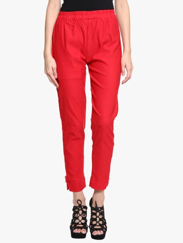 Broadstar Regular Fit Women Red Trousers