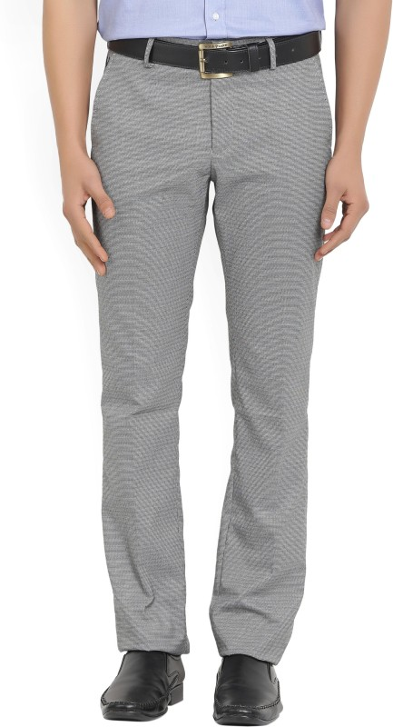 Allen Solly Regular Fit Mens Black, White Trousers