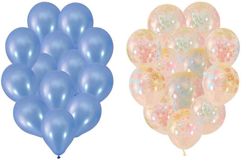 Instabuyz Printed Balloons for Party Festival Diwali Christmas Decorations New Years Celebrations Birthday Party 25pcs Blue & 25pcs white transparent (50pcs set) Balloon(Blue, White, Pack of 50)
