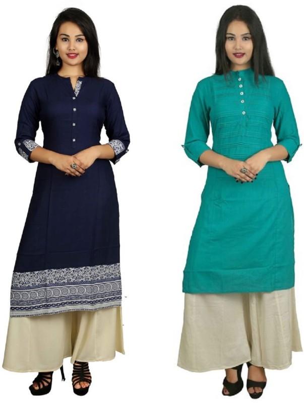 Fashionmandi Casual Solid Women's Kurti(Pack of 2, Green)