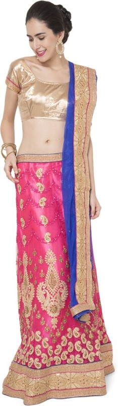 Manvaa Embroidered Semi Stitched Lehenga, Choli and Dupatta Set(Pink)