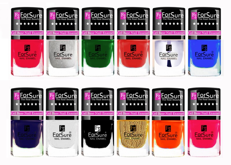 ForSure Trendy High Gloss Nail Polish Combo with 12 Unique Shades Red,Pink,Orange,Green,Blue,Silver,Golden,White,Transparent,Black,Pink,Glossy Blue(Pack of 12)