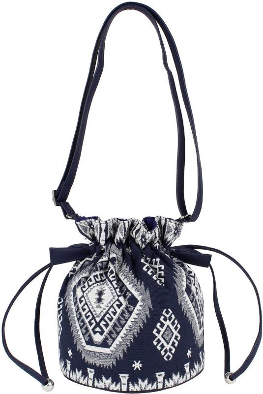 Tash Creations Sling Bag Potli(White, Blue)