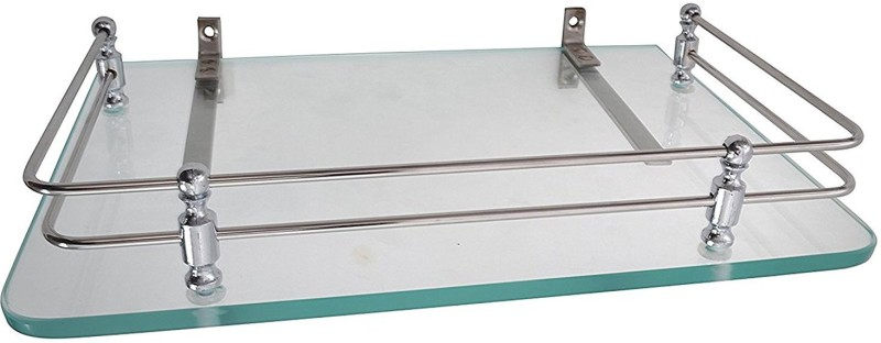 Spiry Fi Setup Box Stand Glass, Stainless Steel Wall Shelf(Number of Shelves - 1, Clear)
