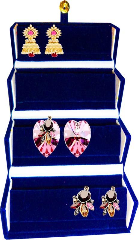 Atorakushon 1 Set Earring Folder jewellery Storage Box Travel Wardrobe Organizer Kit Case (Blue) Ideal for:Storage of Payal, Watch, Chain, Bracelet Bindi,jewellry Cosmetics etc,Keep your Valuable item safe & Dust free,Travelling,Shopping,Picnic,Multiuses