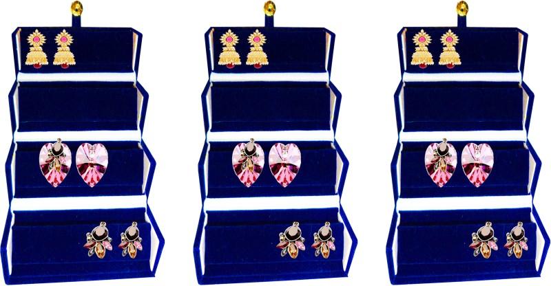 Atorakushon Pack of 3 Earring Folder jewellery Storage Box Travel Wardrobe Organizer Kit Case (Blue) Ideal for:Storage of Payal, Watch, Chain, Bracelet Bindi,jewellry Cosmetics etc,Keep your Valuable item safe & Dust free,Travelling,Shopping,Picnic,Multiu