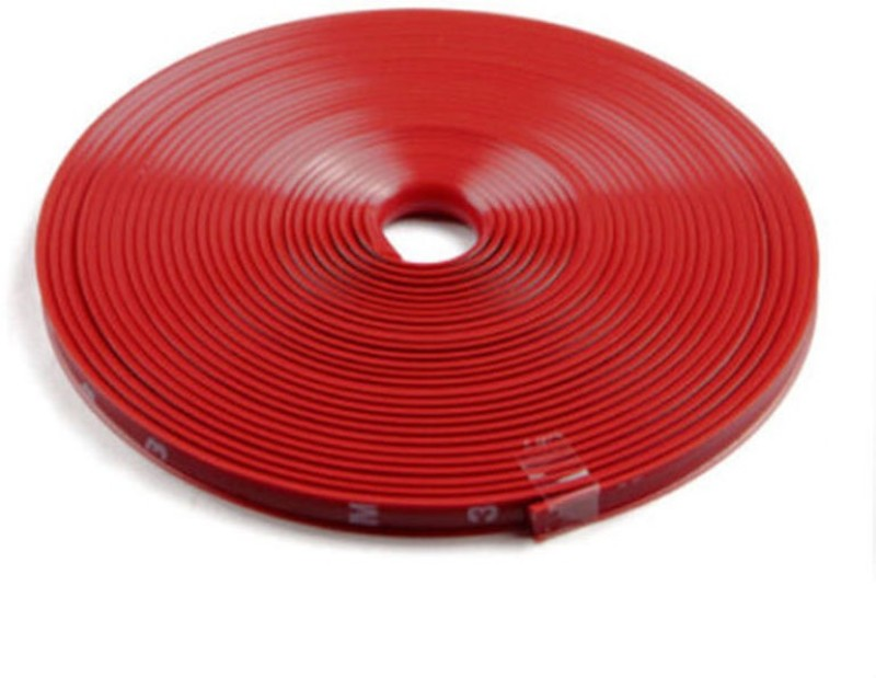 AutoTrends Alloy Wheel Edge Ring Rim Protectors Tyres Tire Guard Rubber Moulding-RED Wheel Cover For Universal For Car Universal For Car(14 cm)