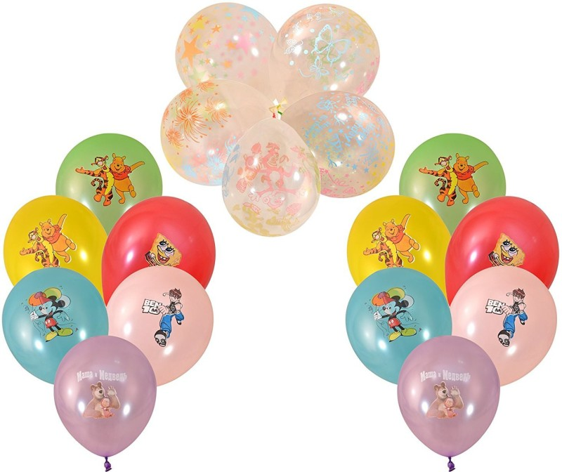 INSTABUYZ Printed Balloons for Party Festival Diwali Christmas New Years Celebrations Birthday Party Multicolor 10pcs & 5pcs white transparent (15pcs set) Balloon(Multicolor, Pack of 15)