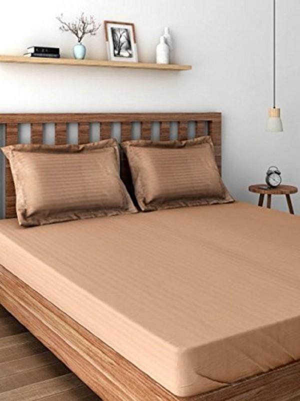 Raymond Home 300 TC Satin Double King Plain Bedsheet(1 Double Bedsheet, 2 Pillow Cover, Brown)