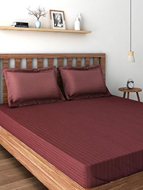 Raymond Home 300 TC Satin Double King Plain Bedsheet(1 Double Bedsheet, 2 Pillow Cover, Wine)
