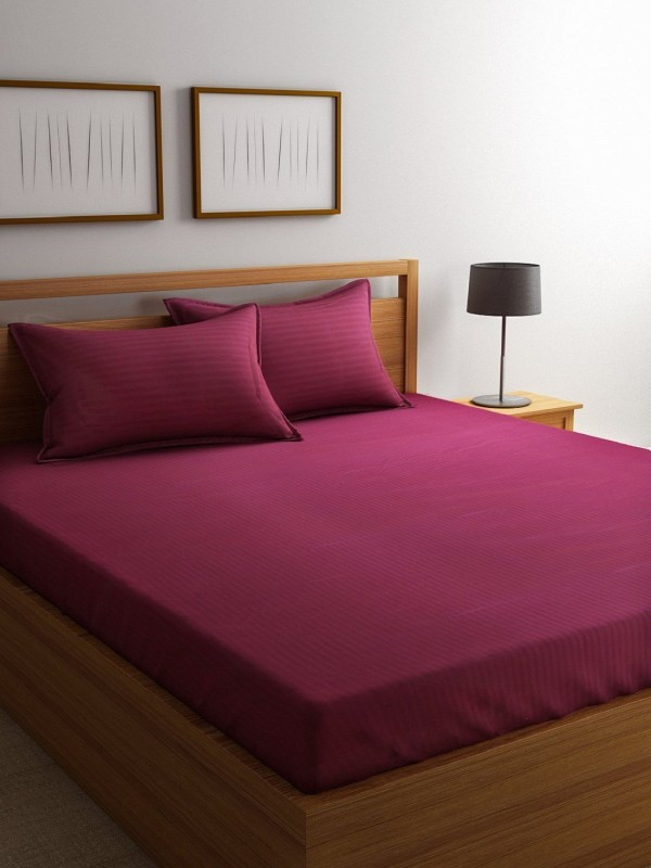 Raymond Home 300 TC Satin Double King Plain Bedsheet(1 Double Bedsheet, 2 Pillow Cover, Red)