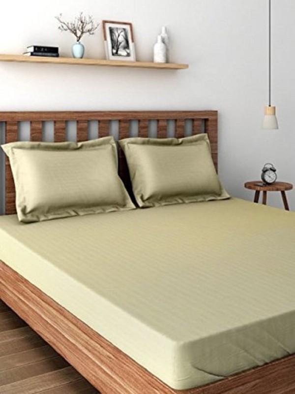 Raymond Home 300 TC Satin Double King Plain Bedsheet(1 Double Bedsheet, 2 Pillow Cover, Grey Brown)
