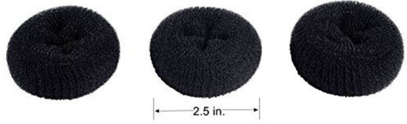 KashQueen 3 Pieces Extra Small Size Kids/Children Hair Bun Donut Maker, for Short and Thin Hairs Hair Accessory Set(Black)