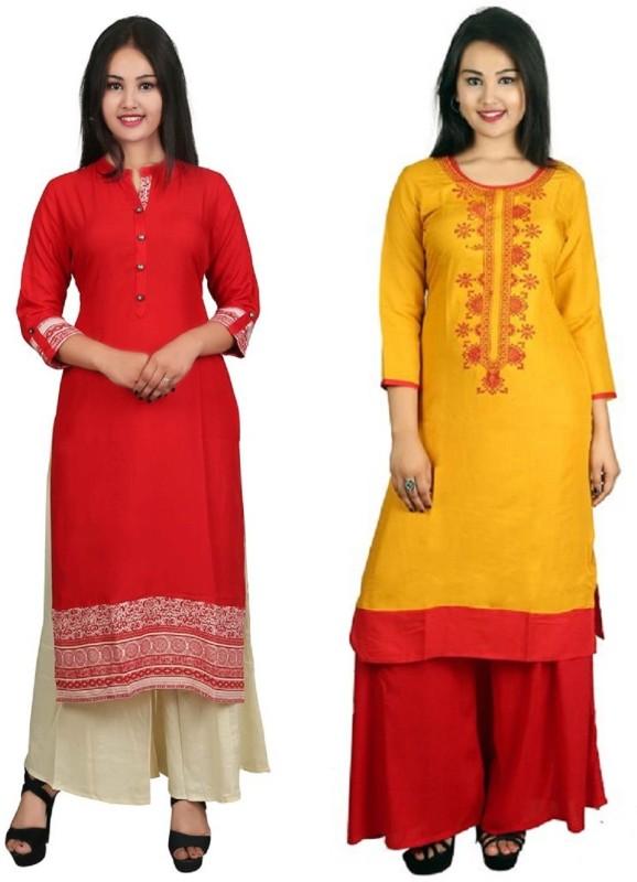 Fashionmandi Casual Embroidered Women's Kurti(Pack of 2, Red)