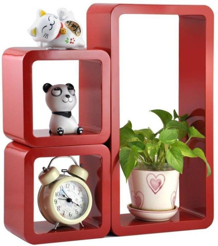 CraftOnline wood rack wall stand Wooden Wall Shelf(Number of Shelves - 3)