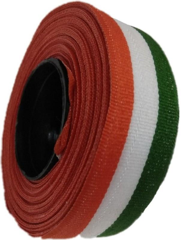 Shreeji Decoration Multicolor Satin Ribbon Orange, White, Green Satin, Polypropylene, Cotton Ribbon(Pack of 1)