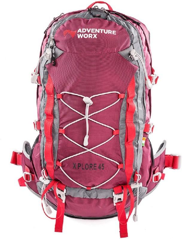 Adventure Worx Xplore 45 trekking/hiking/travel rucksack backpack with AerWireT - 45L Rucksack - 45 L(Red)