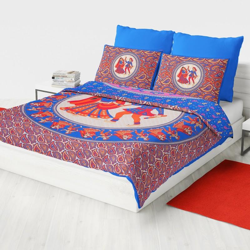 JaypurTextile 110 TC Cotton Double Printed Bedsheet(Pack of 1, Blue)