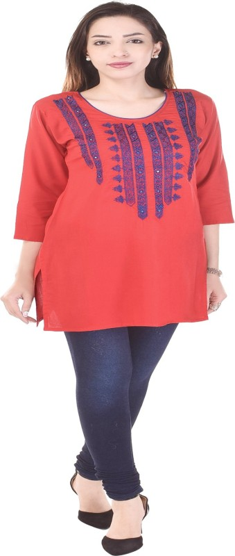 Desier Casual Embroidered Women Kurti(Red)
