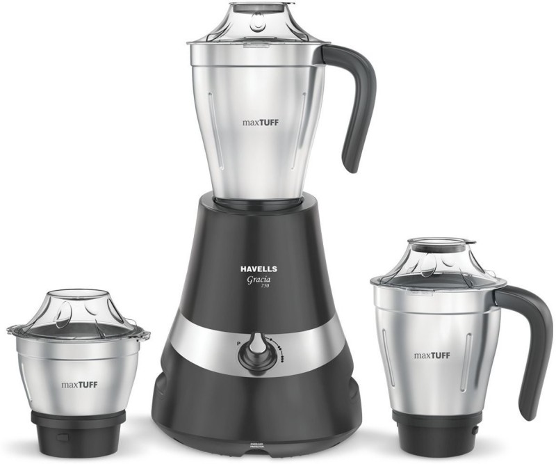Havells gracia 750 W Mixer Grinder(Grey, 3 Jars)
