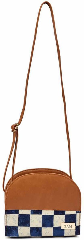2AM Women Casual Brown, Blue, Beige Genuine Leather Sling Bag