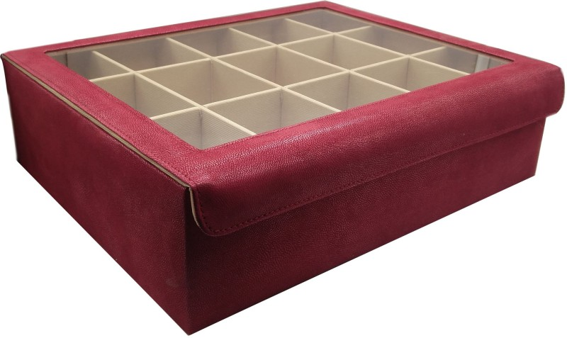 Essart Faux Leather Plain finish Bangle Box (35cm x 23cm x 7.5cm) with magnetic clsoure & transparent lid feature - BN-04-Maroon Rectangular Shaped Bangle Box, Magnetic Closure, Transparent Lid feature, 15 compartments to hold bangles, To hold bangles , Jewellery or other make-up accessory, make-up