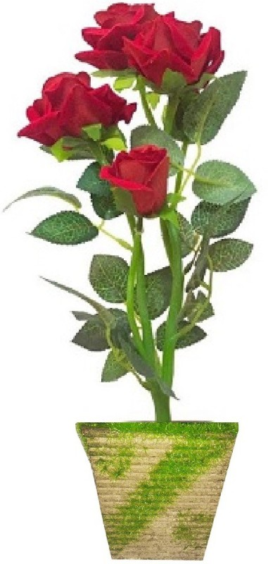 kaykon Valentine Day Rose Velvet Artificial Red Rose Flowers with Natural Looking Petals and Leaves With Imported Pot-5 Flowers - OnlyonFlipkart 12 inch Red Rose Artificial Flower with Pot(12 inch, Pack of 1)