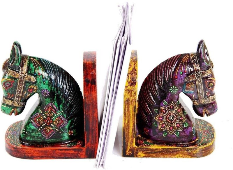 Purpledip Handmade Indian Royal Horses Bookends Wood Book End(Multicolor, Pack of 1)