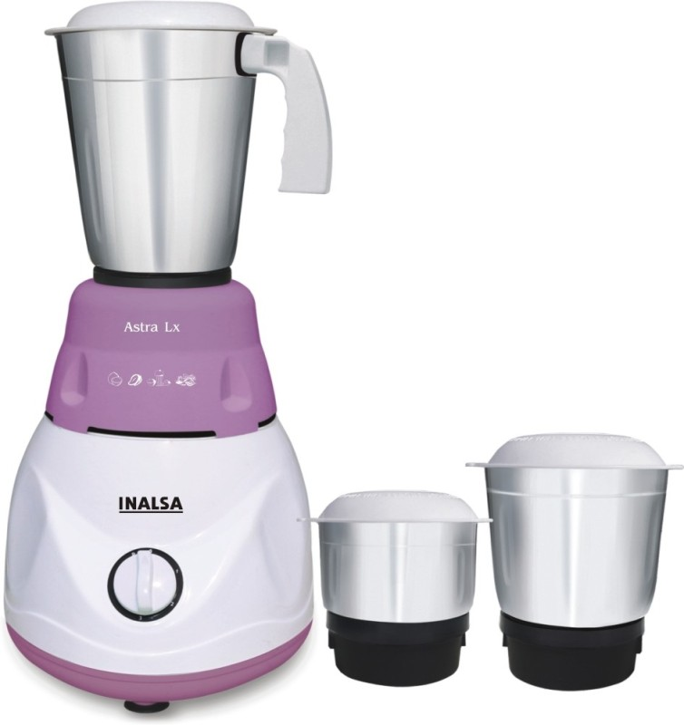 Inalsa Astra LX 600 watt Mixer Grinder(White & Purple, 3 Jars)