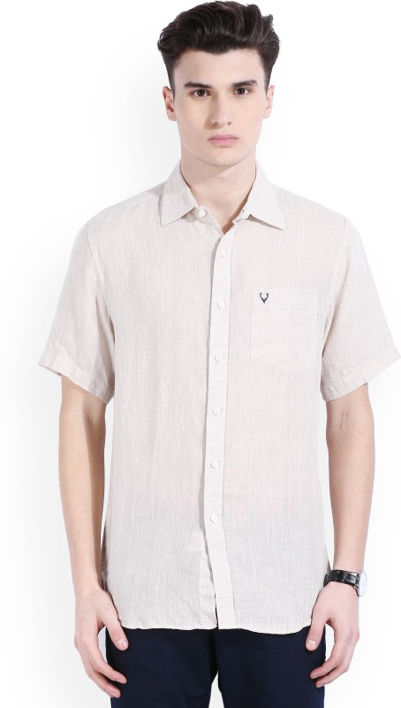 Allen Solly Mens Self Design Casual Linen Beige Shirt