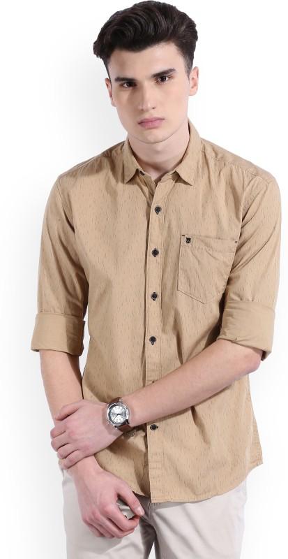 Wrangler Mens Printed Casual Beige Shirt