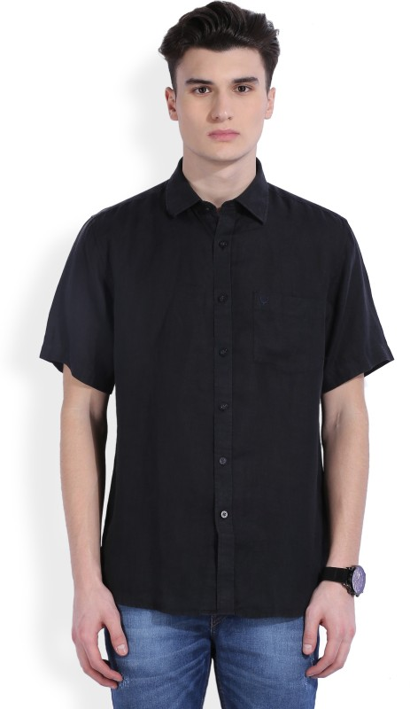 Allen Solly Mens Solid Casual Linen Black Shirt