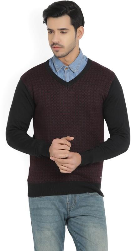 Louis Philippe Self Design V-neck Casual Mens Black, Maroon Sweater