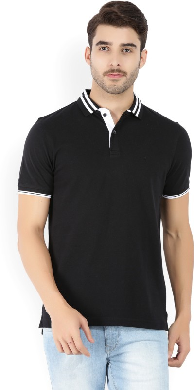 Indian Terrain Solid Mens Polo Neck Black T-Shirt