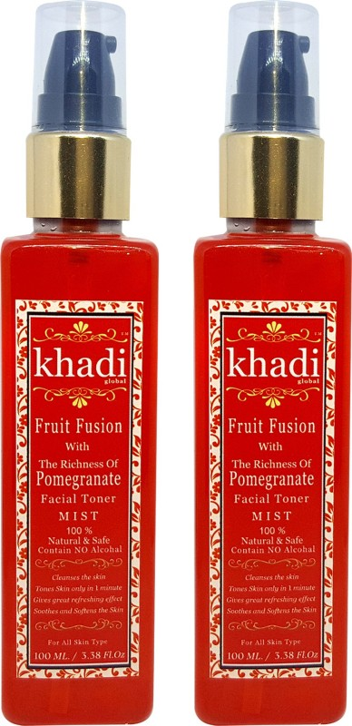 Khadi Global Fruit Fusion with Richness of Pomegranate Facial Mist Toner For Spotless Beauty Contain No Alcohal 100% Natural & Safe 200ml.(200 ml)