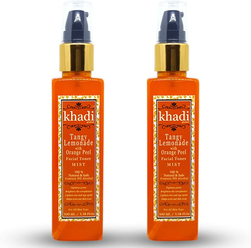 Khadi Global Tangy Lemonade with Orange Peel Facial Mist Toner For Oil Control Contain No Alcohal 100% Natural & Safe 200ml.(200 ml)