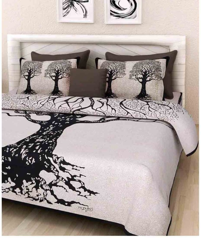 The Intellect Bazaar 144 TC Cotton Double Printed Bedsheet(1 double bedsheet with 2 pillow covers, Black)