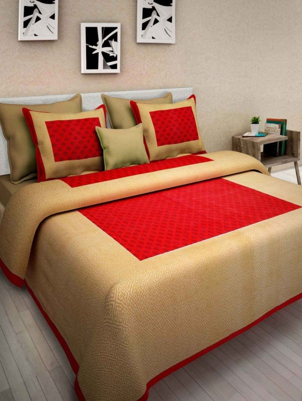 The Intellect Bazaar 144 TC Cotton Double Self Design Bedsheet(1 double bedsheet with 2 pillow covers, Red)