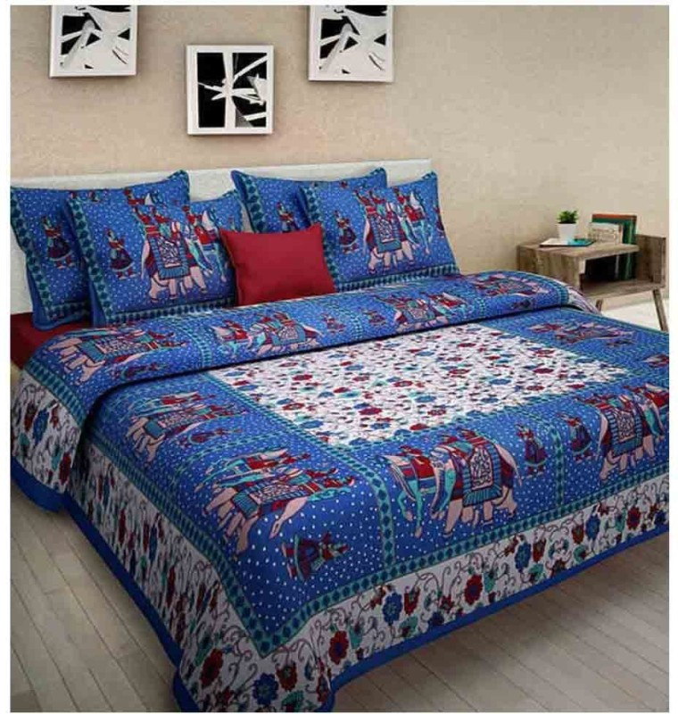 The Intellect Bazaar 144 TC Cotton Double Printed Bedsheet(1 double bedsheet with 2 pillow covers, Blue)