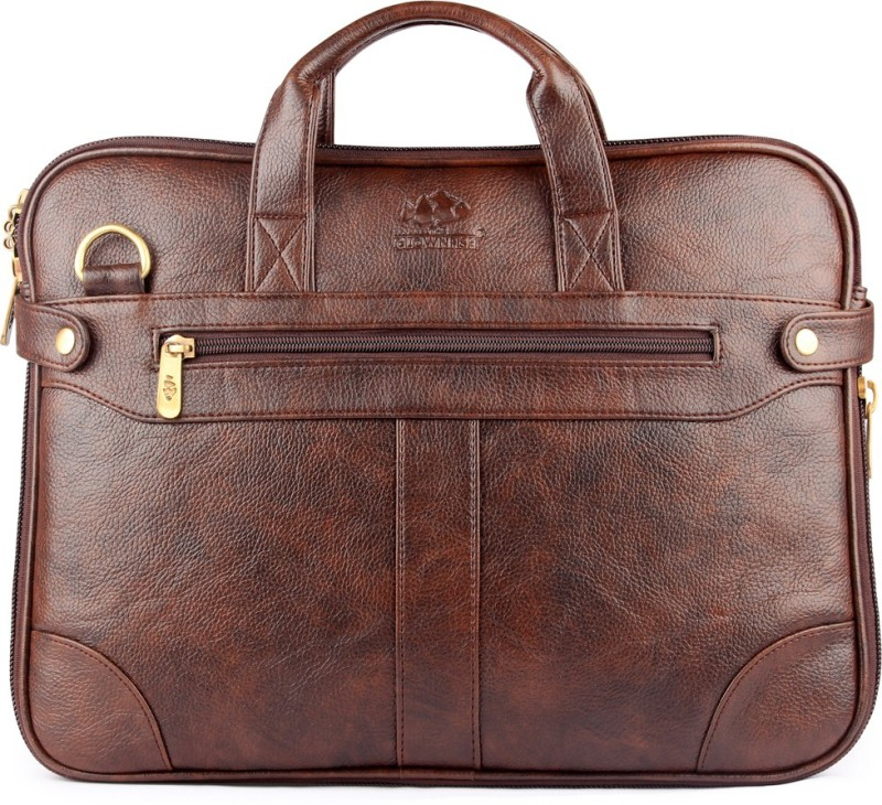 The Clownfish Royal Synthetic Leather Laptop Briefcase Medium Briefcase - For Men & Women(Dark Brown)