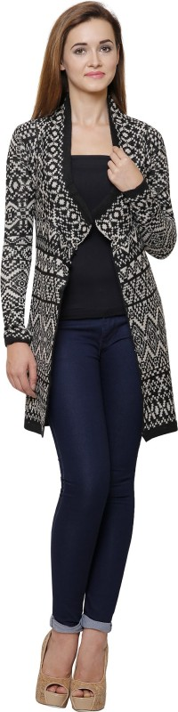 MansiCollections Womens No Closure Printed Cardigan