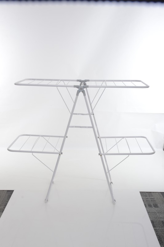 Pull n Dry Steel Floor Cloth Dryer Stand(White)