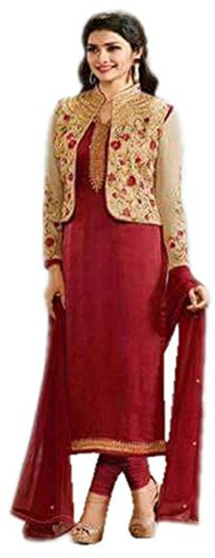 Ethnic Empire Silk Embroidered Semi-stitched Salwar Suit Dupatta Material