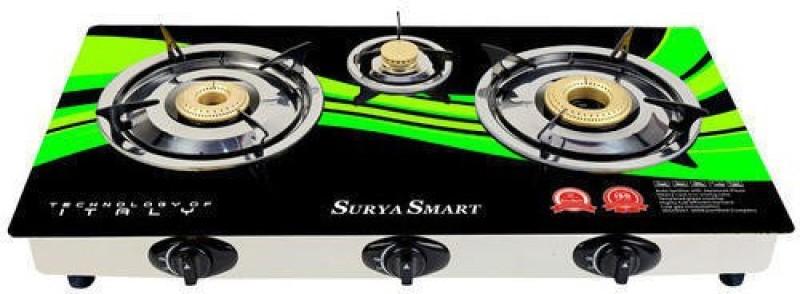 SURYA SMART Glass, Steel Automatic Gas Stove(3 Burners)