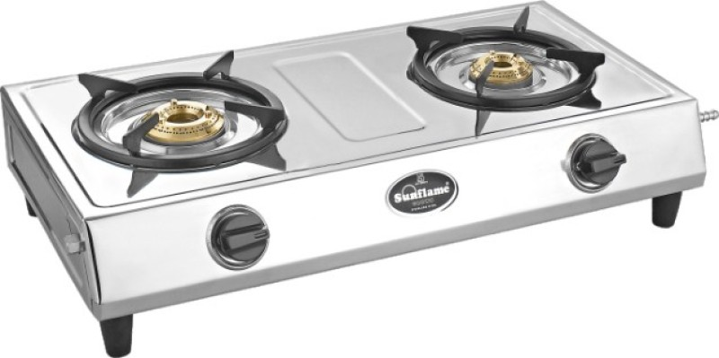 Sun Flame Stainless Steel Manual Gas Stove(2 Burners)