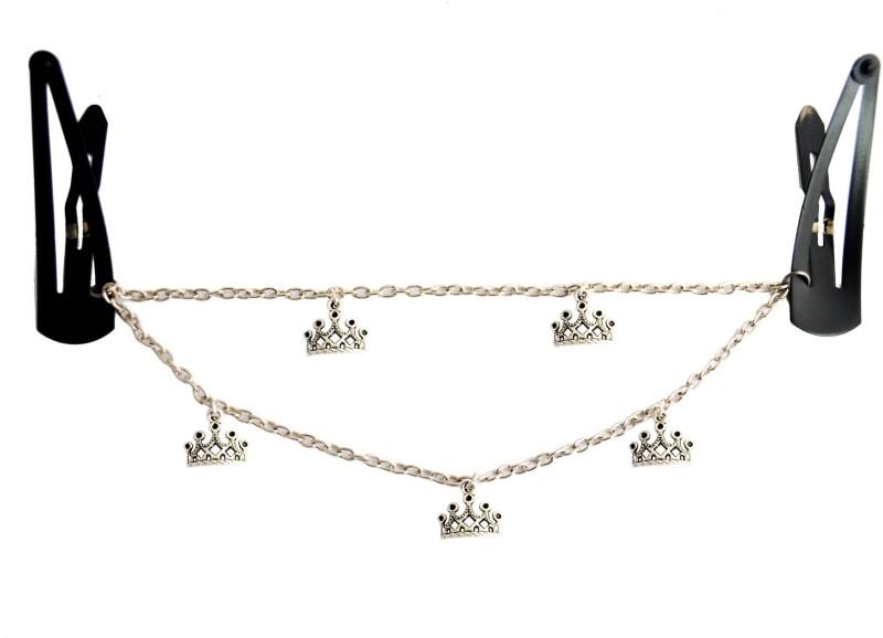 Pretty Ponytails Crown Tiara Hairchain   Boho Jewellery   Silver Hair Chain   Hair Jewellery   Party accessory   Silver Hair Clip Hair Chain(Silver)