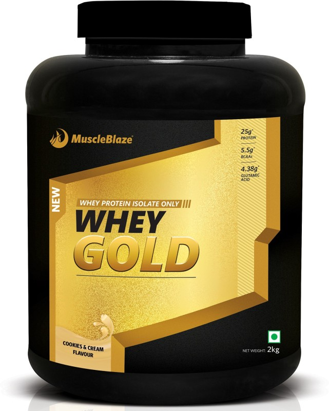 MuscleBlaze Whey Gold 100% Whey Isolate Whey Protein(2 kg, Cookies & Cream)